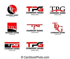 セット, 手紙, テンプレート, ロゴ, デザイン, 頭文字, tpg