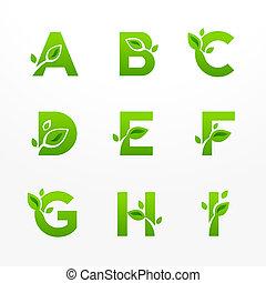 セット, 手紙, eco, leaves., 生態学的, ベクトル, 緑, ロゴ, fon