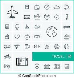 セット, 手荷物, elements., pictogram, 休暇, 飛行機, デザイン, symbols., アイコン, 旅行, 計画, サングラス, 線である, イラスト, 線, 観光事業, グラフィック, アウトライン, 地図, ベクトル, 薄くなりなさい, 夏