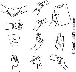 セット, 手, シンボル, ビジネス