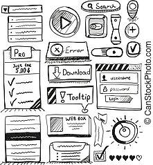 セット, 手, ベクトル, デザイン, ユーザインタフェース, 引かれる, 要素