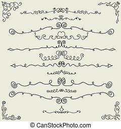 セット, 手, ベクトル, デザイン, 引かれる, calligraphic, 要素