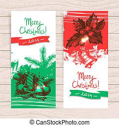 セット, 手, banners., イラスト, 引かれる, クリスマス