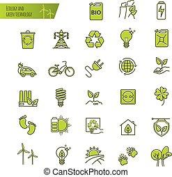 セット, 技術, アイコン, エコロジー, organic., 緑, 薄いライン
