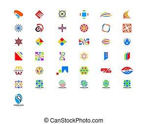 セット, 抽象的, ベクトル, デザイン, ロゴ, 要素