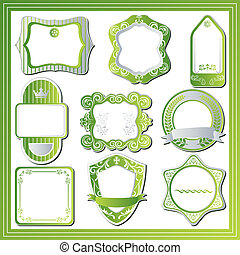 セット, 抽象的, 緑, ラベル