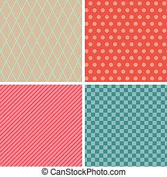 セット, 抽象的, pattern., seamless, レトロ, 幾何学的, texture., 4