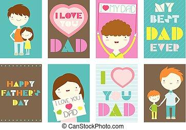 セット, 挨拶, 父, カード, 日, 幸せ
