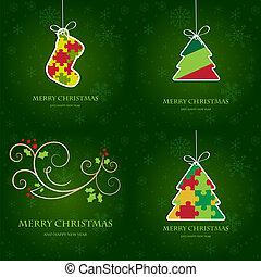 セット, 挨拶, 4, ベクトル, カード, クリスマス, 要素