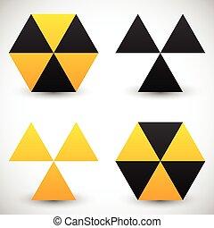 セット, 放射, icons., 印, 4, 幾何学的, version.