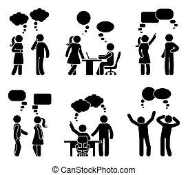 セット, 数字, オフィスの人々, スピーチ, スティック, 泡