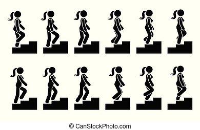 セット, 数字, スティック, 女性, 階段, アイコン