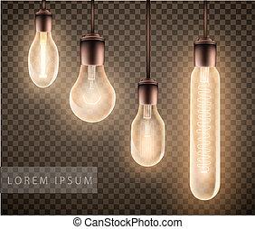 セット, 数字, 電球, 明るい, 透明