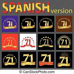 セット, 数, years), スペイン語, seventy-one, (71