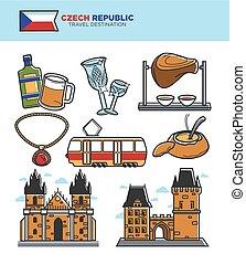 セット, 文化, チェコ, 旅行 アイコン, 有名, ベクトル, 観光事業, ランドマーク, 観光
