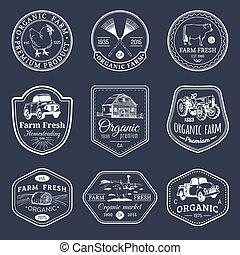 セット, 新たに, 農場, 型, ラベル, 手, logotypes., 装置, ベクトル, レトロ, sketched...