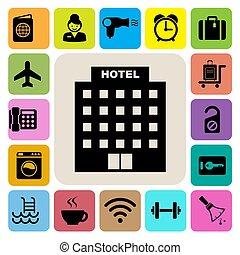 セット, 旅行, アイコン, ホテル