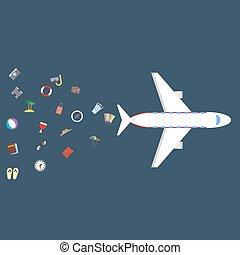 セット, 旅行, 飛行機, アイコン