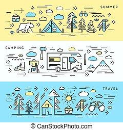 セット, 旗, キャンプ