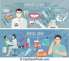 セット, 旗, 歯科医