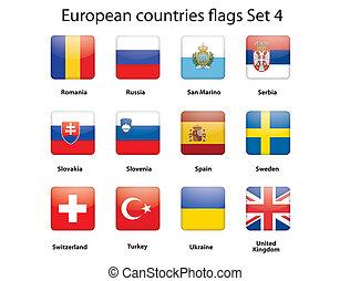 セット, 旗, 4, ヨーロッパ, 国