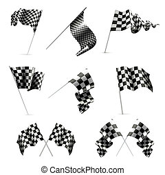 セット, 旗, checkered