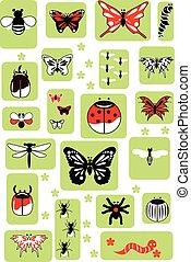 セット, 昆虫, ベクトル, イラスト