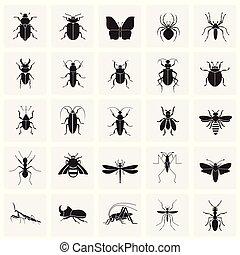 セット, 昆虫, 現代, デザイン, 最新流行である, デザイン, 網アイコン, concept., 単純である, インターネット, 正方形, シンボル, ウェブサイト, 印。, 背景, グラフィック, モビール, ボタン, app., ベクトル, ∥あるいは∥