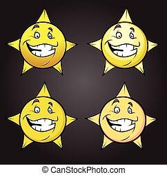 セット, 星, うれしい, smiley