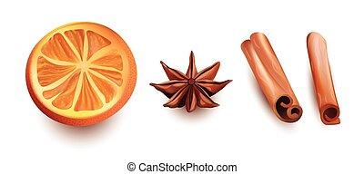 セット, 星, はり付く, オレンジ, 隔離された, バックグラウンド。, ベクトル, シナモン, スライス, 白, ...