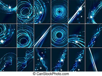 セット, 星, スペース, 色, ライト, 抽象的, ライン, 暗い, 白熱, 効果, 背景