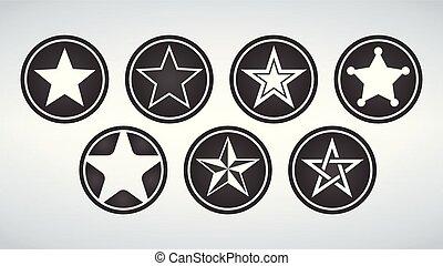セット, 星, 現代, 隔離された, icons., バックグラウンド。, ベクトル, 黒, イラスト, 白, circle.
