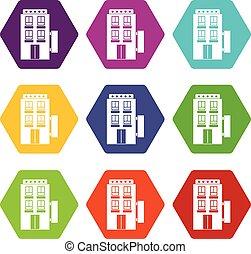 セット, 星, 色, hexahedron, ホテル, 5, アイコン