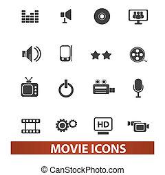 セット, 映画, 映画館, ベクトル, アイコン