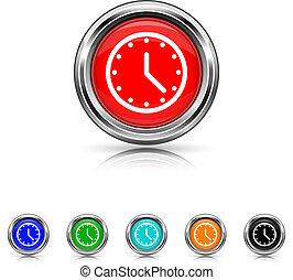 セット, 時計, 6, -, 色, アイコン