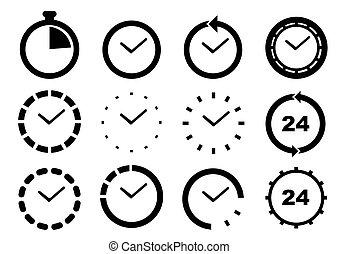 セット, 時間, illustration., ベクトル, icons.