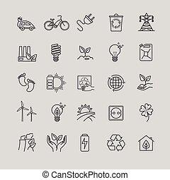セット, 有機体である, 技術, アイコン, エコロジー, -, 緑, 薄いライン