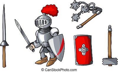 セット, 有色人種, いたずら書き, ステッカー, 隔離された, 手, 武器, 引かれる, 騎士, 白