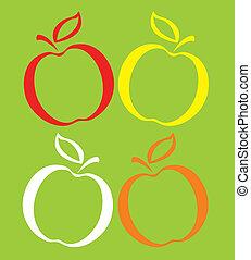 セット, 有色人種, りんご