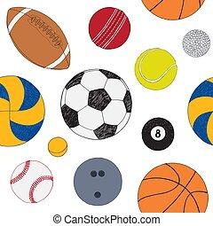 セット, 有色人種, パターン, seamless, 手, バックグラウンド。, ベクトル, included, 引かれる, balls., スポーツ, 白, sketch.