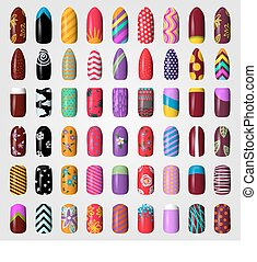 セット, 有色人種, ペイントされた, 釘, polish., manicure., nails.