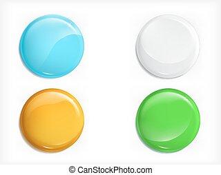 セット, 有色人種, ボタン, 現実的, ベクトル, グロッシー, ラウンド