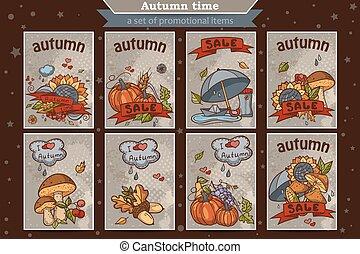 セット, 有色人種, 縦, 大きい, 秋, 主題, カード, doodles