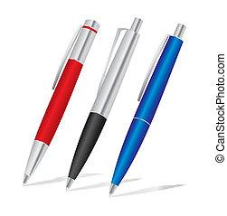 セット, 有色人種, 黒, pens:, 赤, 青