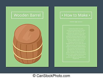 セット, 木製である, テキスト, 作りなさい, いかに, ポスター, 樽