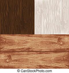 セット, 木製である, eps10., 4, ベクトル, textures.