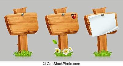 セット, 木製である, set., 印, ベクトル, アイコン, 3d