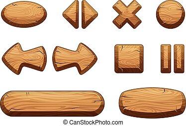 セット, 木製である, ui., ボタン, ゲーム, ベクトル, イラスト, 漫画