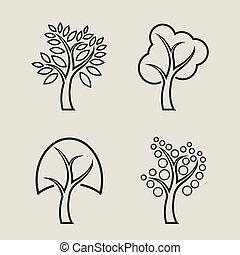 セット, 木, アイコン