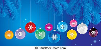セット, 木, クリスマスボール